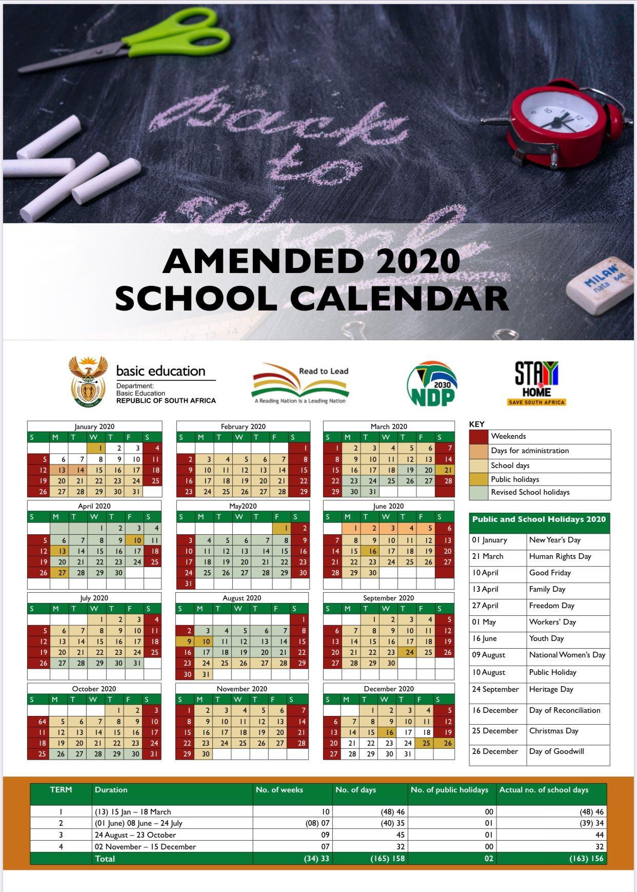 Revised School Calendar 2020
