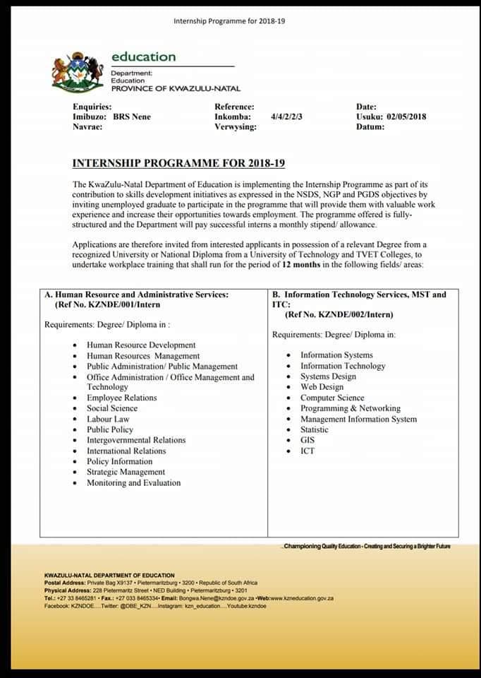 KwaZulu-Natal Department of Education 2018/2019 Internship