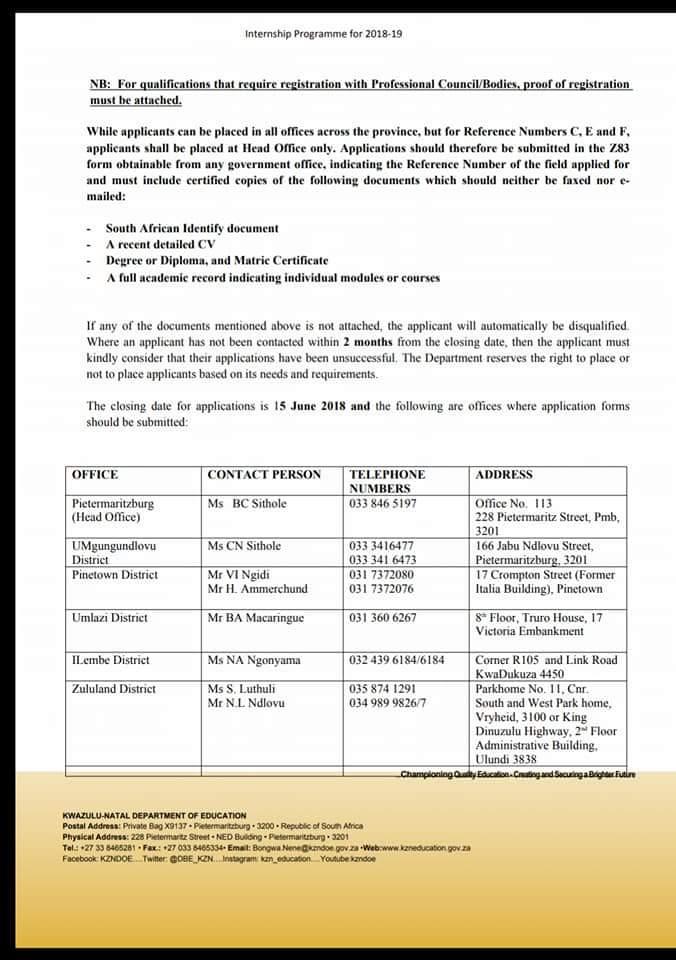 KwaZulu-Natal Department of Education 2018/2019 Internship Programme