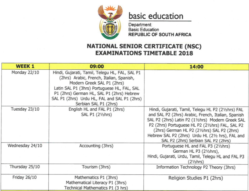 MATRIC 2018 Exam Timetable | Careers Portal