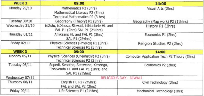 MATRIC 2018 Exam Timetable | Careers Portal