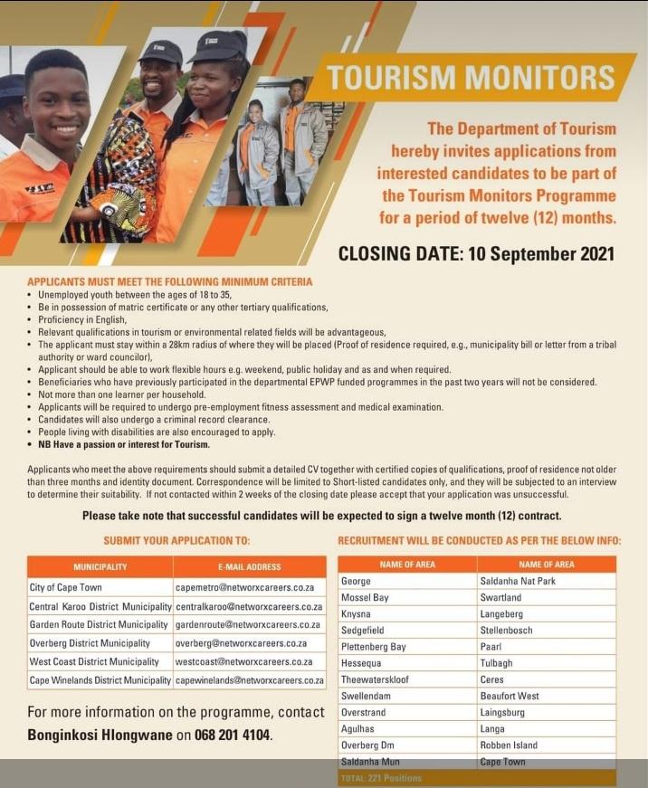 tourism monitors learnership